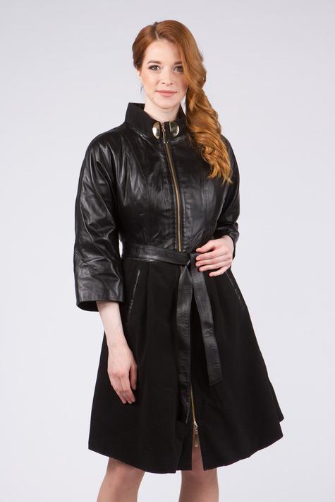 Черное кожаное пальто женское